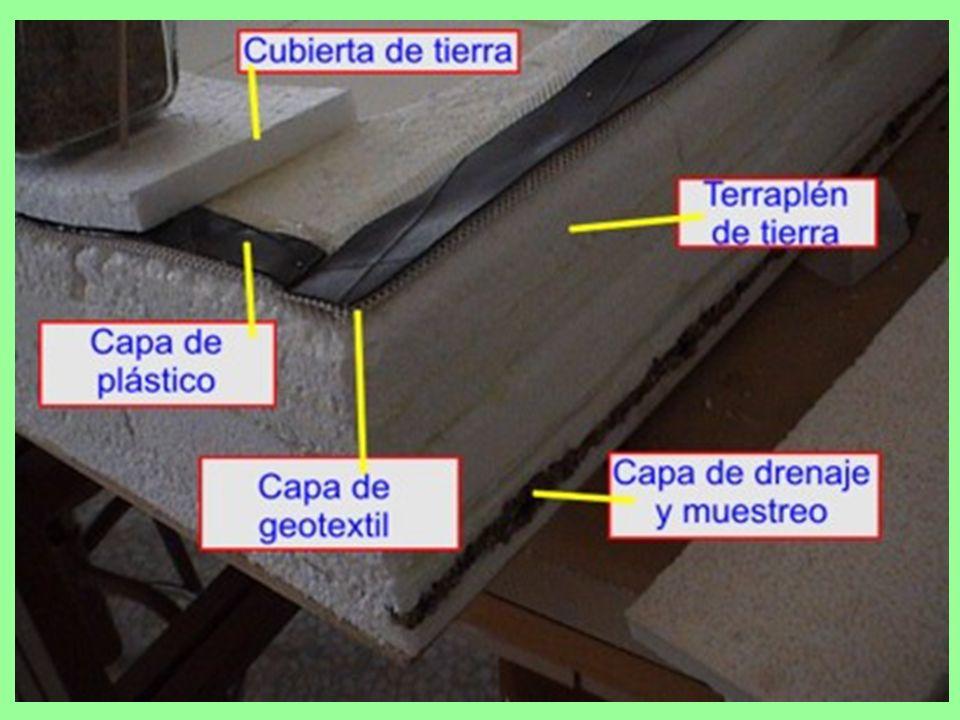 Capa de drenaje y muestreo: esta capa es la encargada de saber si de la balsa se escapan vertidos, ya que en esta capa existen unos tubos de los cuales se toman muestras para analizar periódicamente su composición química.