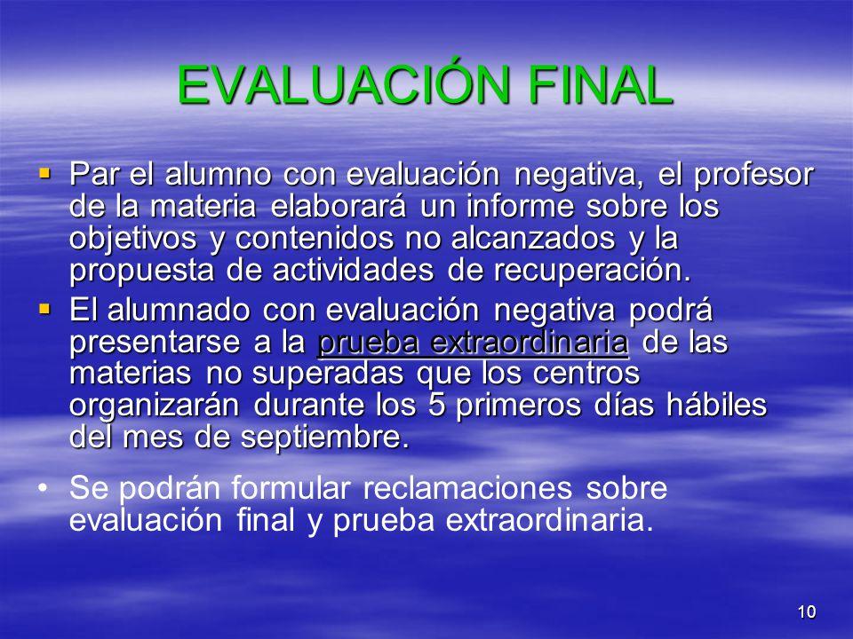10 EVALUACIÓN FINAL Par el alumno con evaluación negativa, el profesor de la materia elaborará un informe sobre los objetivos y contenidos no alcanzad