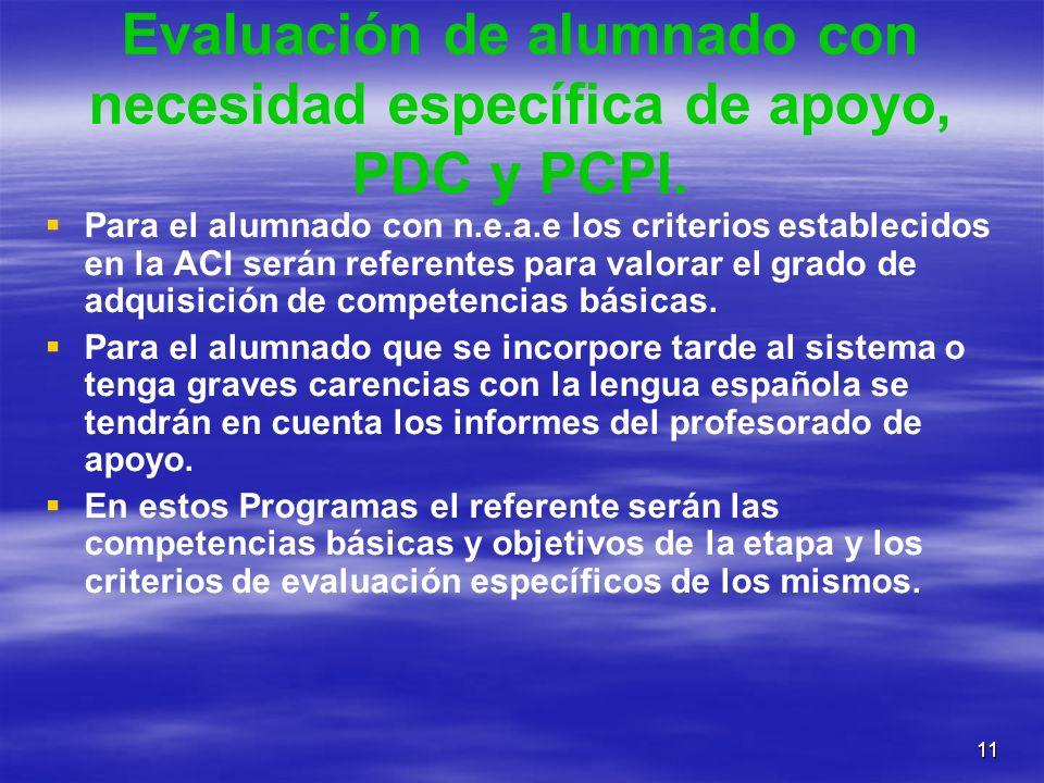 11 Evaluación de alumnado con necesidad específica de apoyo, PDC y PCPI. Para el alumnado con n.e.a.e los criterios establecidos en la ACI serán refer