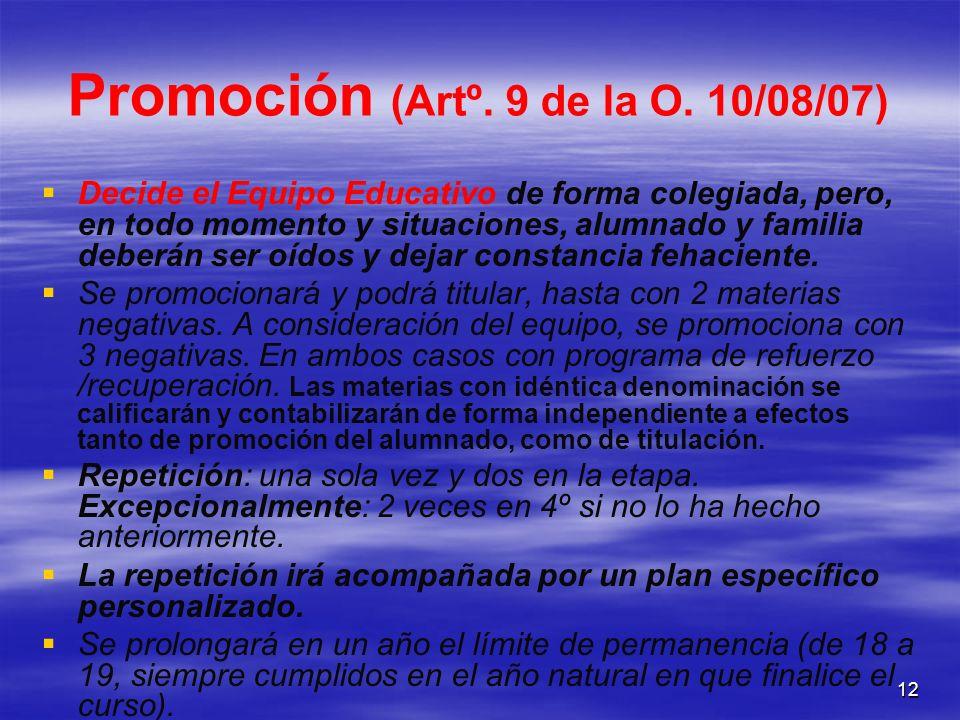 12 Promoción (Artº. 9 de la O. 10/08/07) Decide el Equipo Educativo de forma colegiada, pero, en todo momento y situaciones, alumnado y familia deberá