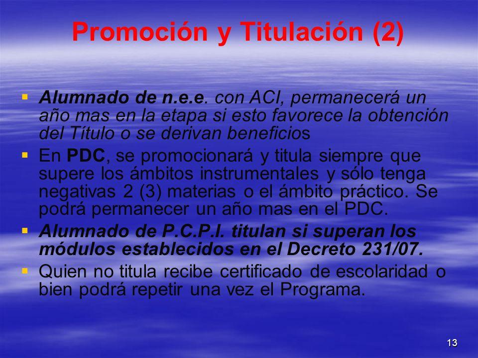 13 Promoción y Titulación (2) Alumnado de n.e.e. con ACI, permanecerá un año mas en la etapa si esto favorece la obtención del Título o se derivan ben