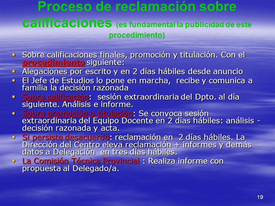 19 Proceso de reclamación sobre calificaciones (es fundamental la publicidad de este procedimiento) Sobre calificaciones finales, promoción y titulaci