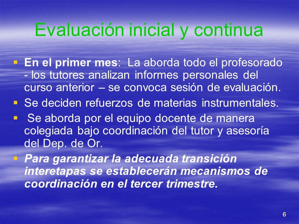 6 Evaluación inicial y continua En el primer mes: La aborda todo el profesorado - los tutores analizan informes personales del curso anterior – se con