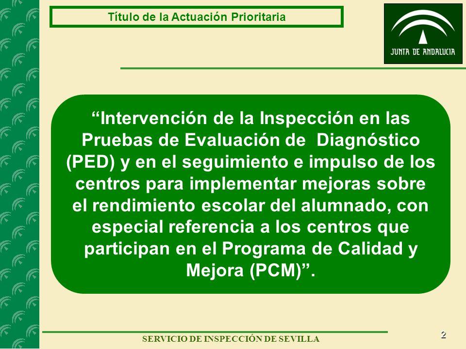 2 SERVICIO DE INSPECCIÓN DE SEVILLA Título de la Actuación Prioritaria Intervención de la Inspección en las Pruebas de Evaluación de Diagnóstico (PED)