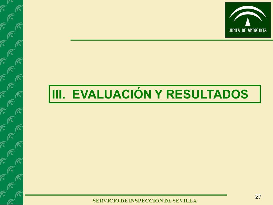 27 SERVICIO DE INSPECCIÓN DE SEVILLA III. EVALUACIÓN Y RESULTADOS