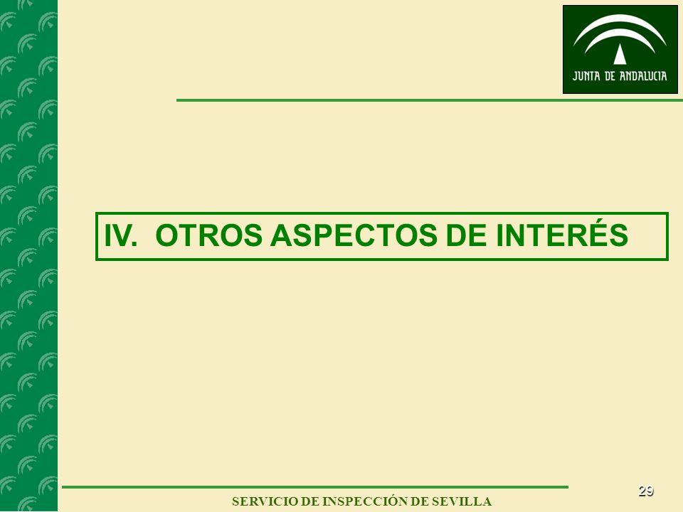 29 SERVICIO DE INSPECCIÓN DE SEVILLA IV. OTROS ASPECTOS DE INTERÉS