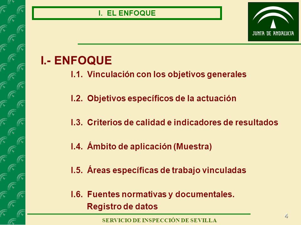 4 SERVICIO DE INSPECCIÓN DE SEVILLA I. EL ENFOQUE I.- ENFOQUE I.1. Vinculación con los objetivos generales I.2. Objetivos específicos de la actuación