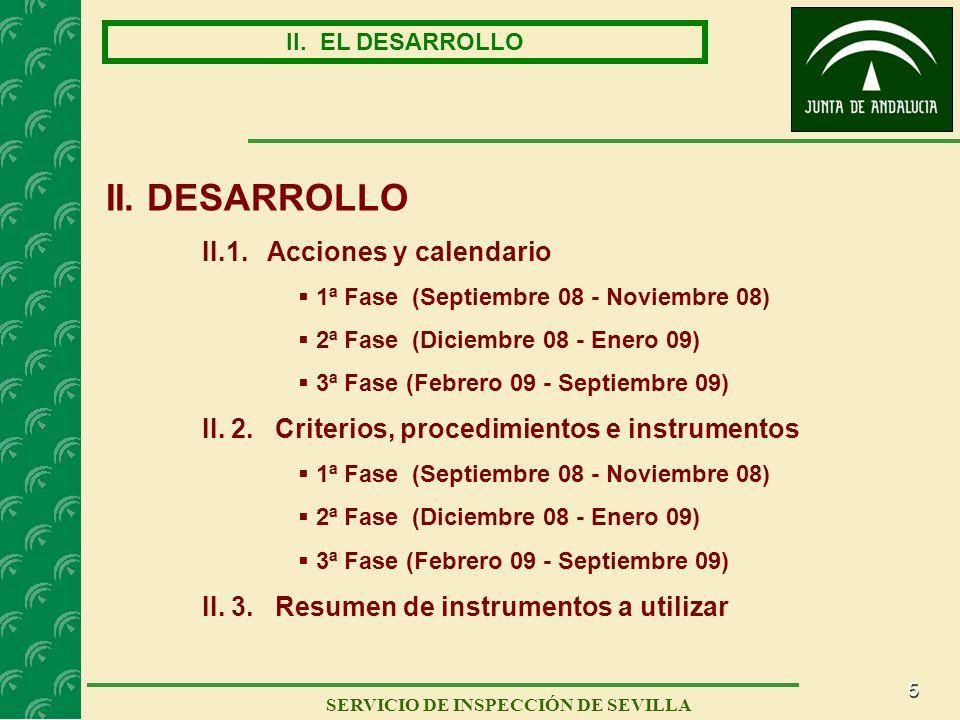 5 SERVICIO DE INSPECCIÓN DE SEVILLA II. EL DESARROLLO II. DESARROLLO II.1. Acciones y calendario 1ª Fase (Septiembre 08 - Noviembre 08) 2ª Fase (Dicie