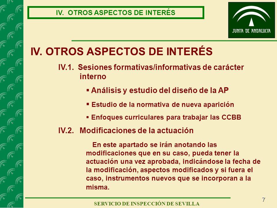 7 SERVICIO DE INSPECCIÓN DE SEVILLA IV. OTROS ASPECTOS DE INTERÉS IV.1. Sesiones formativas/informativas de carácter interno Análisis y estudio del di