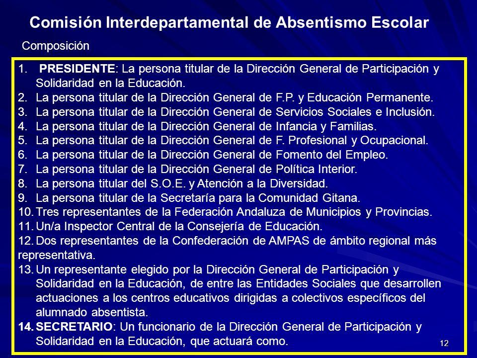 12 Comisión Interdepartamental de Absentismo Escolar Composición 1. PRESIDENTE: La persona titular de la Dirección General de Participación y Solidari