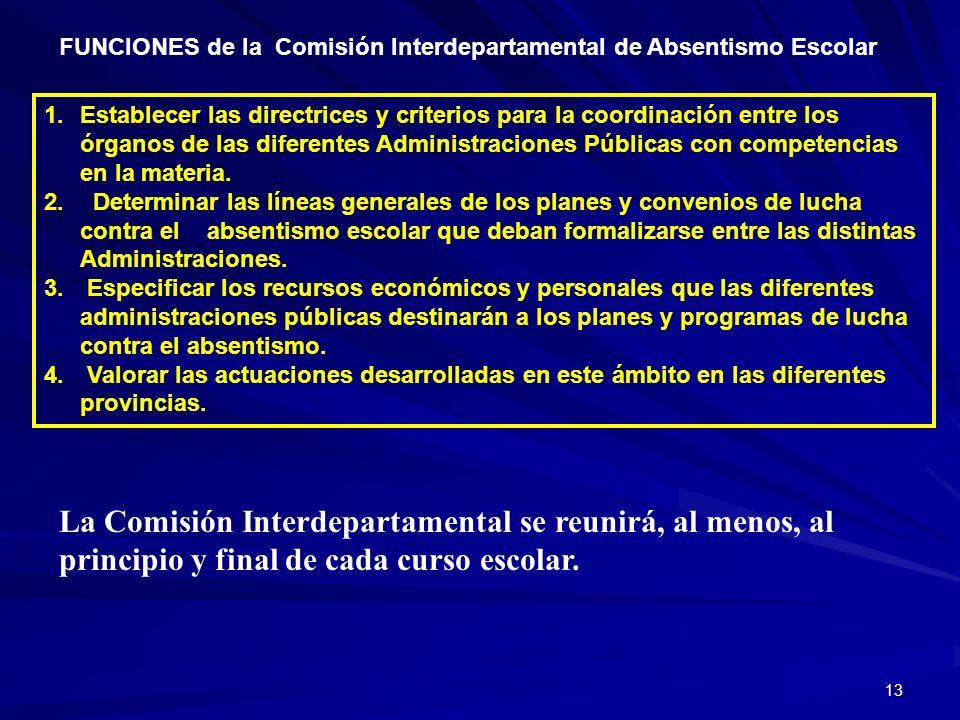 13 FUNCIONES de la Comisión Interdepartamental de Absentismo Escolar 1.Establecer las directrices y criterios para la coordinación entre los órganos d