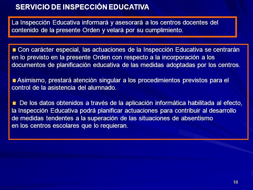 18 SERVICIO DE INSPECCIÓN EDUCATIVA La Inspección Educativa informará y asesorará a los centros docentes del contenido de la presente Orden y velará p