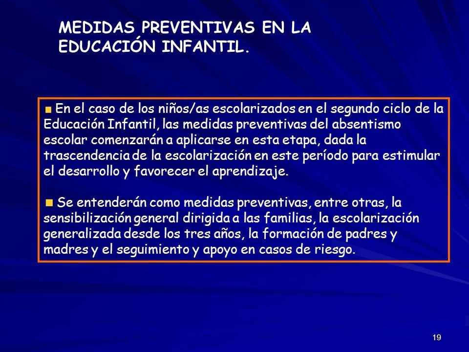 19 En el caso de los niños/as escolarizados en el segundo ciclo de la Educación Infantil, las medidas preventivas del absentismo escolar comenzarán a