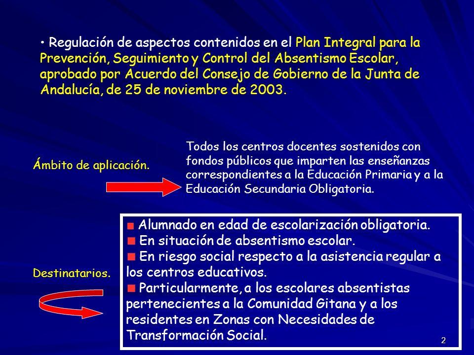 2 Regulación de aspectos contenidos en el Plan Integral para la Prevención, Seguimiento y Control del Absentismo Escolar, aprobado por Acuerdo del Con
