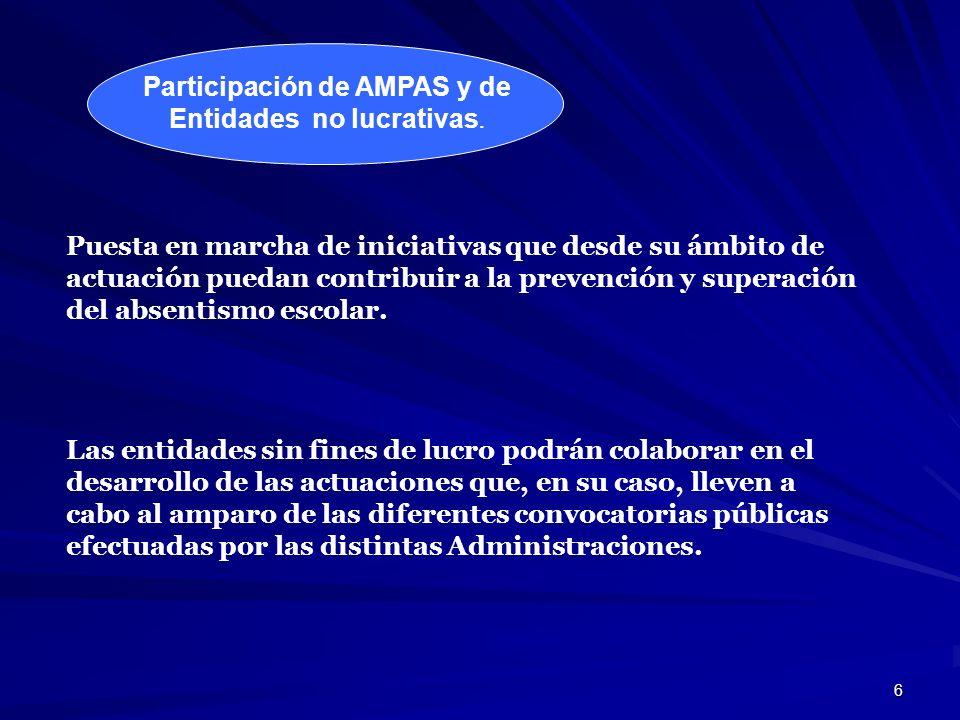 6 Participación de AMPAS y de Entidades no lucrativas. Puesta en marcha de iniciativas que desde su ámbito de actuación puedan contribuir a la prevenc