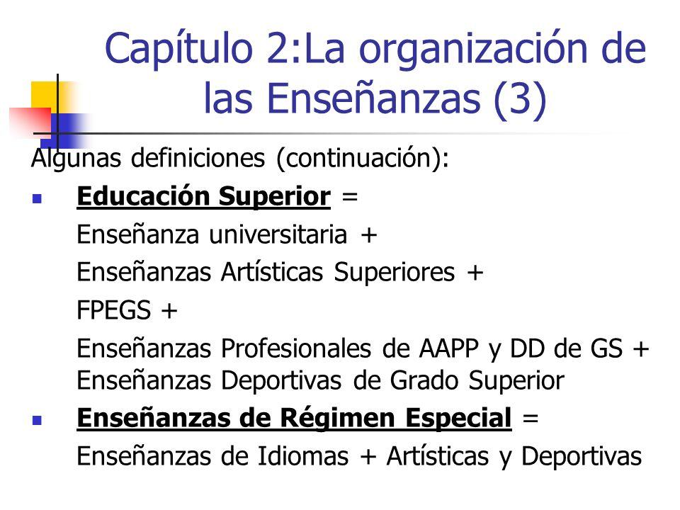 Capítulo 2:La organización de las Enseñanzas (3) Algunas definiciones (continuación): Educación Superior = Enseñanza universitaria + Enseñanzas Artísticas Superiores + FPEGS + Enseñanzas Profesionales de AAPP y DD de GS + Enseñanzas Deportivas de Grado Superior Enseñanzas de Régimen Especial = Enseñanzas de Idiomas + Artísticas y Deportivas