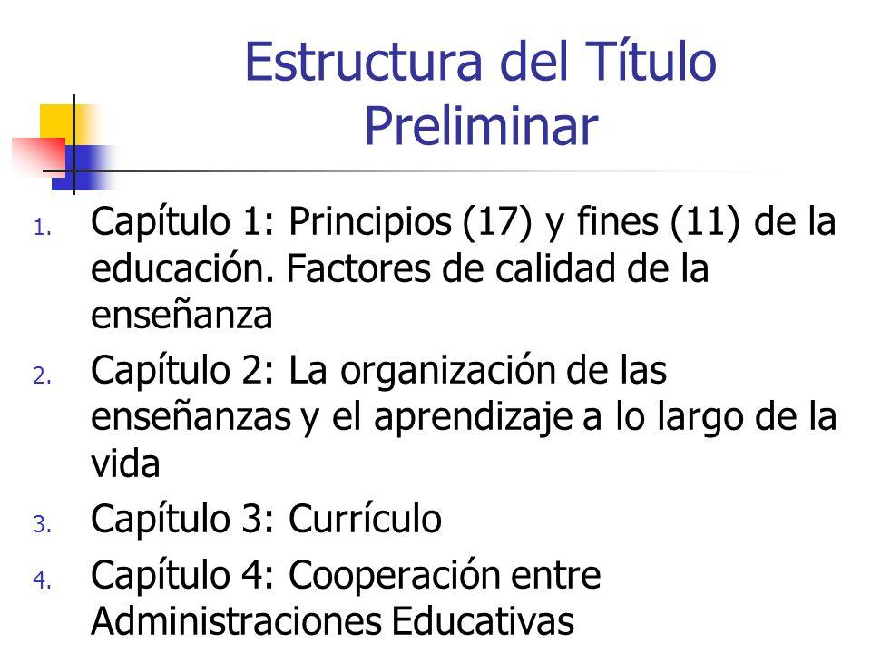 Estructura del Título Preliminar 1. Capítulo 1: Principios (17) y fines (11) de la educación. Factores de calidad de la enseñanza 2. Capítulo 2: La or