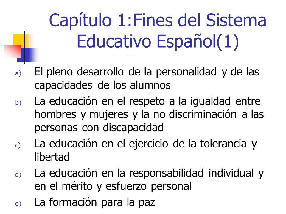 Capítulo 1:Fines del Sistema Educativo Español(1) a) El pleno desarrollo de la personalidad y de las capacidades de los alumnos b) La educación en el