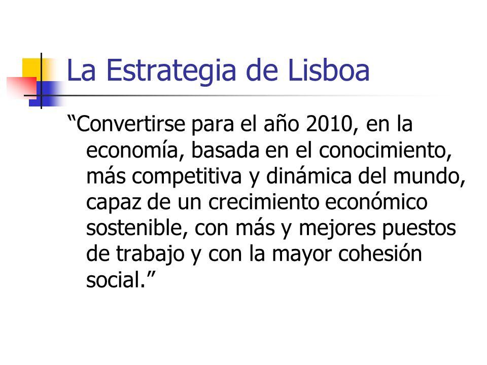 La Estrategia de Lisboa Convertirse para el año 2010, en la economía, basada en el conocimiento, más competitiva y dinámica del mundo, capaz de un crecimiento económico sostenible, con más y mejores puestos de trabajo y con la mayor cohesión social.