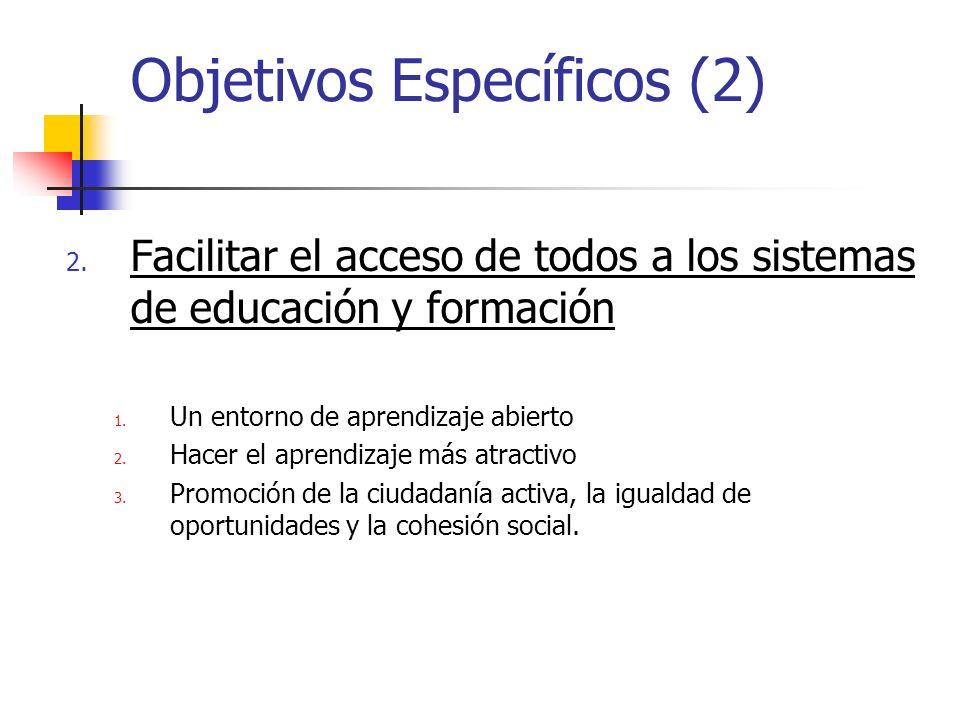 Objetivos Específicos (3) 3.Abrir los Sistemas de Educación y Formación al mundo exterior.