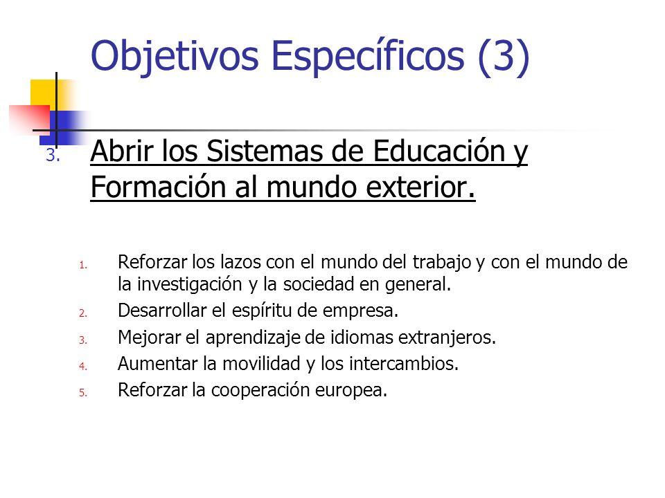 Objetivos Específicos (3) 3. Abrir los Sistemas de Educación y Formación al mundo exterior.