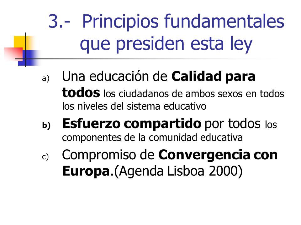 3.- Principios fundamentales que presiden esta ley a) Una educación de Calidad para todos los ciudadanos de ambos sexos en todos los niveles del siste