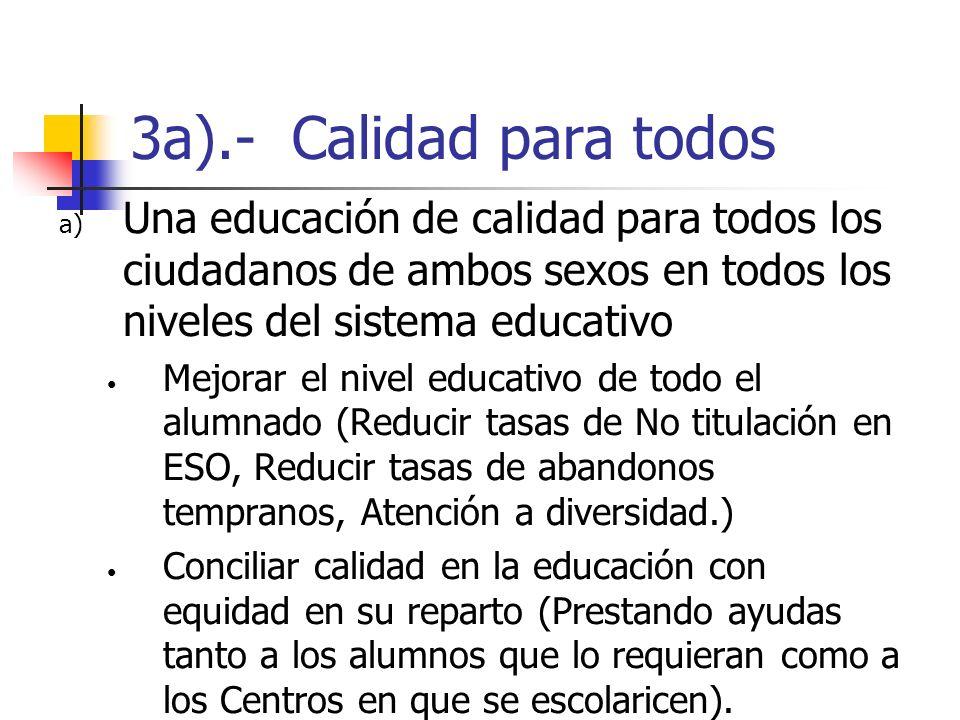 3a).- Calidad para todos a) Una educación de calidad para todos los ciudadanos de ambos sexos en todos los niveles del sistema educativo Mejorar el ni