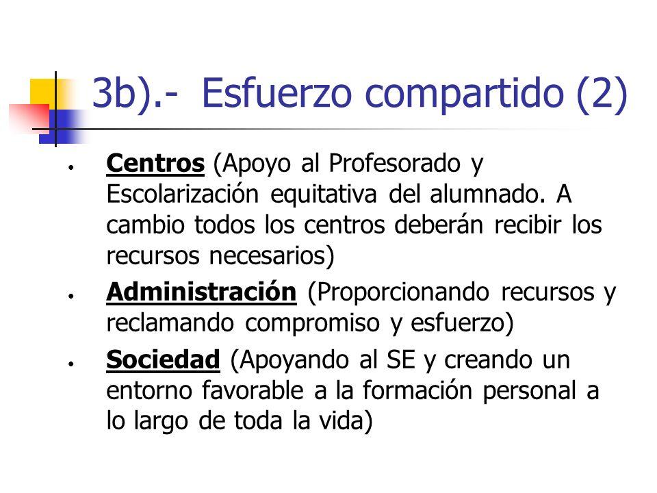 3b).- Esfuerzo compartido (2) Centros (Apoyo al Profesorado y Escolarización equitativa del alumnado. A cambio todos los centros deberán recibir los r