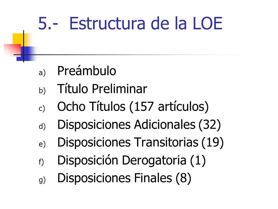 5.- Estructura de la LOE a) Preámbulo b) Título Preliminar c) Ocho Títulos (157 artículos) d) Disposiciones Adicionales (32) e) Disposiciones Transito