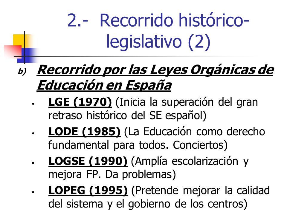2.- Recorrido histórico- legislativo (2) b) Recorrido por las Leyes Orgánicas de Educación en España LGE (1970) (Inicia la superación del gran retraso