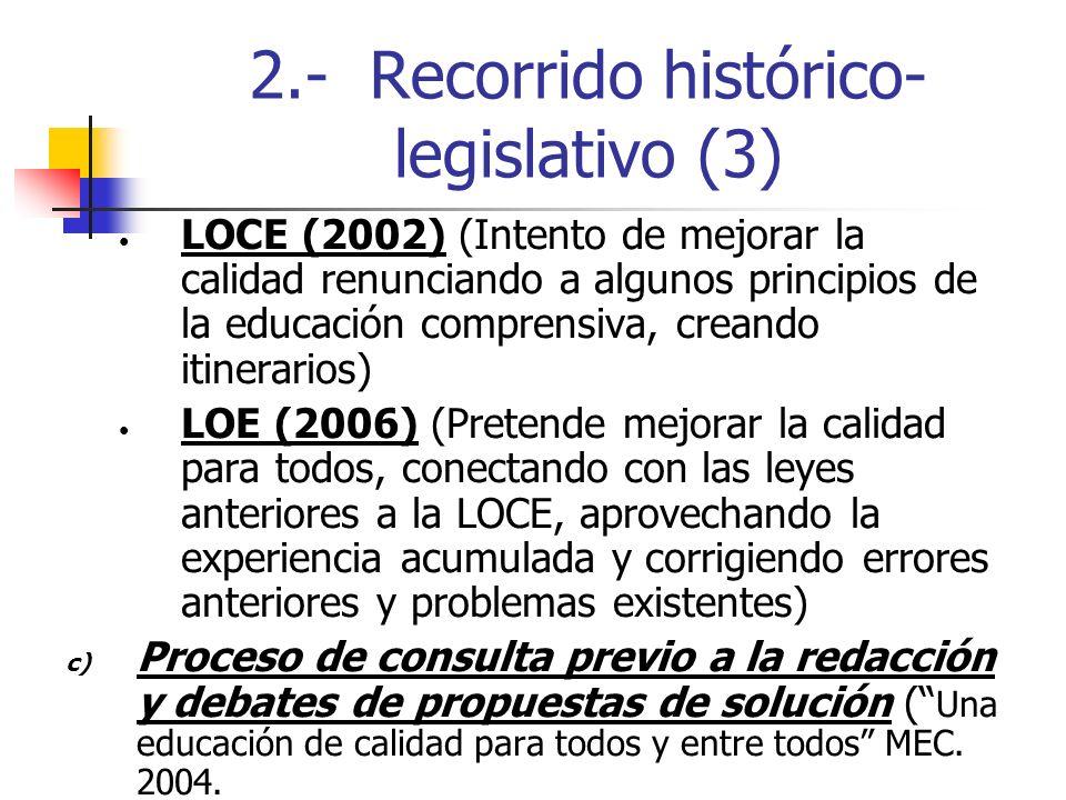 2.- Recorrido histórico- legislativo (3) LOCE (2002) (Intento de mejorar la calidad renunciando a algunos principios de la educación comprensiva, crea