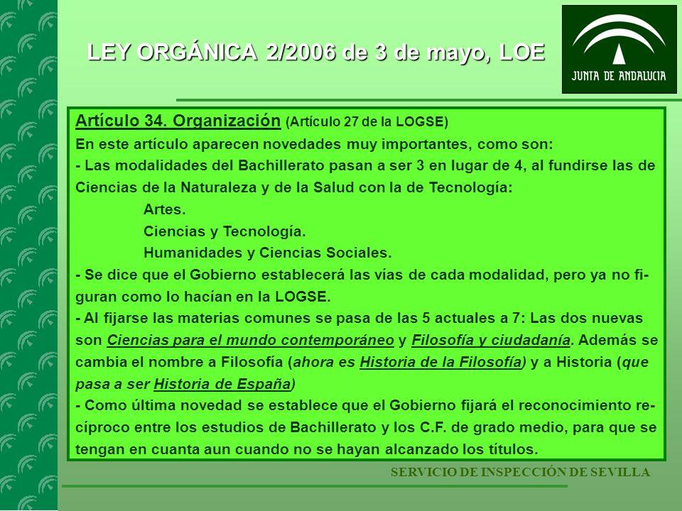 SERVICIO DE INSPECCIÓN DE SEVILLA LEY ORGÁNICA 2/2006 de 3 de mayo, LOE Artículo 35.