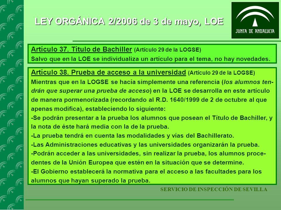 SERVICIO DE INSPECCIÓN DE SEVILLA LEY ORGÁNICA 2/2006 de 3 de mayo, LOE Artículo 37. Título de Bachiller (Artículo 29 de la LOGSE) Salvo que en la LOE