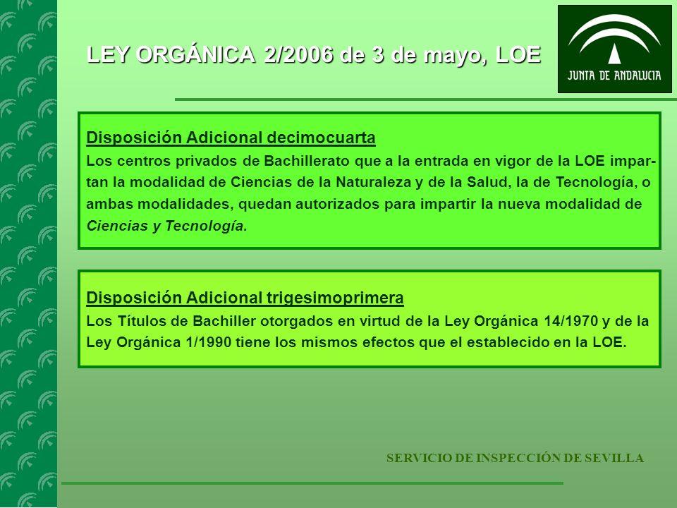 SERVICIO DE INSPECCIÓN DE SEVILLA LEY ORGÁNICA 2/2006 de 3 de mayo, LOE Disposición Adicional decimocuarta Los centros privados de Bachillerato que a