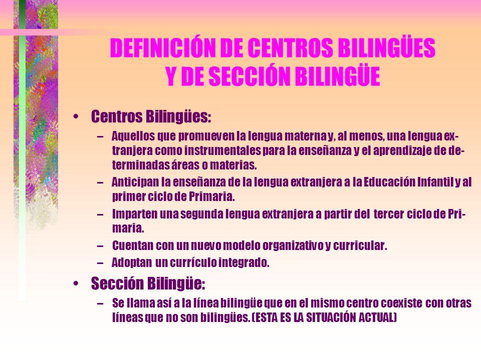 DEFINICIÓN DE CENTROS BILINGÜES Y DE SECCIÓN BILINGÜE Centros Bilingües: –Aquellos que promueven la lengua materna y, al menos, una lengua ex- tranjer