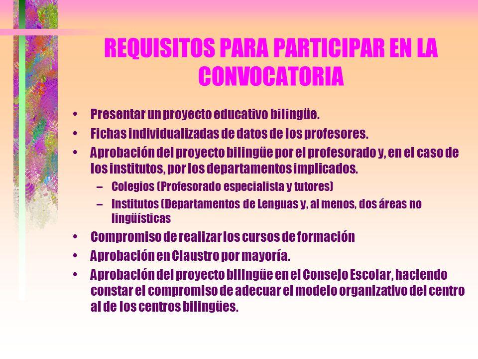REQUISITOS PARA PARTICIPAR EN LA CONVOCATORIA Presentar un proyecto educativo bilingüe. Fichas individualizadas de datos de los profesores. Aprobación