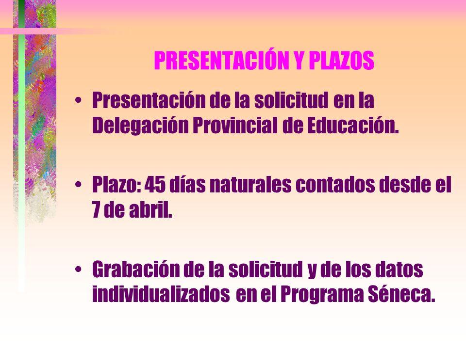 PRESENTACIÓN Y PLAZOS Presentación de la solicitud en la Delegación Provincial de Educación. Plazo: 45 días naturales contados desde el 7 de abril. Gr