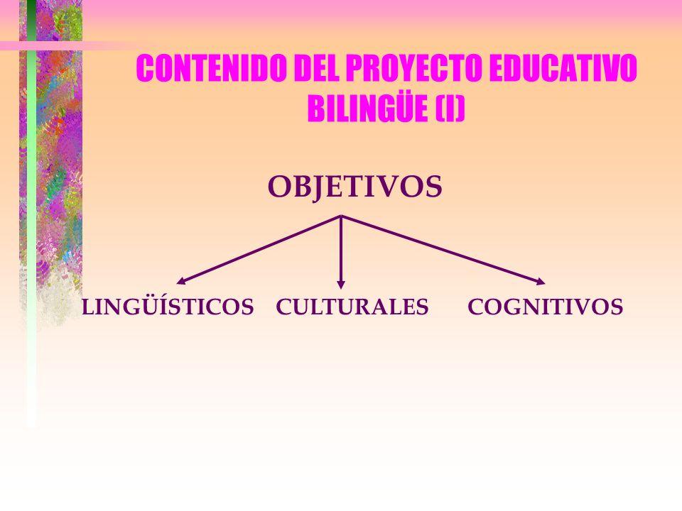 CONTENIDO DEL PROYECTO EDUCATIVO BILINGÜE (I) OBJETIVOS LINGÜÍSTICOSCULTURALESCOGNITIVOS
