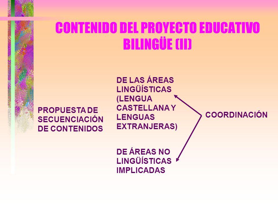 CONTENIDO DEL PROYECTO EDUCATIVO BILINGÜE (II) PROPUESTA DE SECUENCIACIÓN DE CONTENIDOS DE LAS ÁREAS LINGÜÍSTICAS (LENGUA CASTELLANA Y LENGUAS EXTRANJ