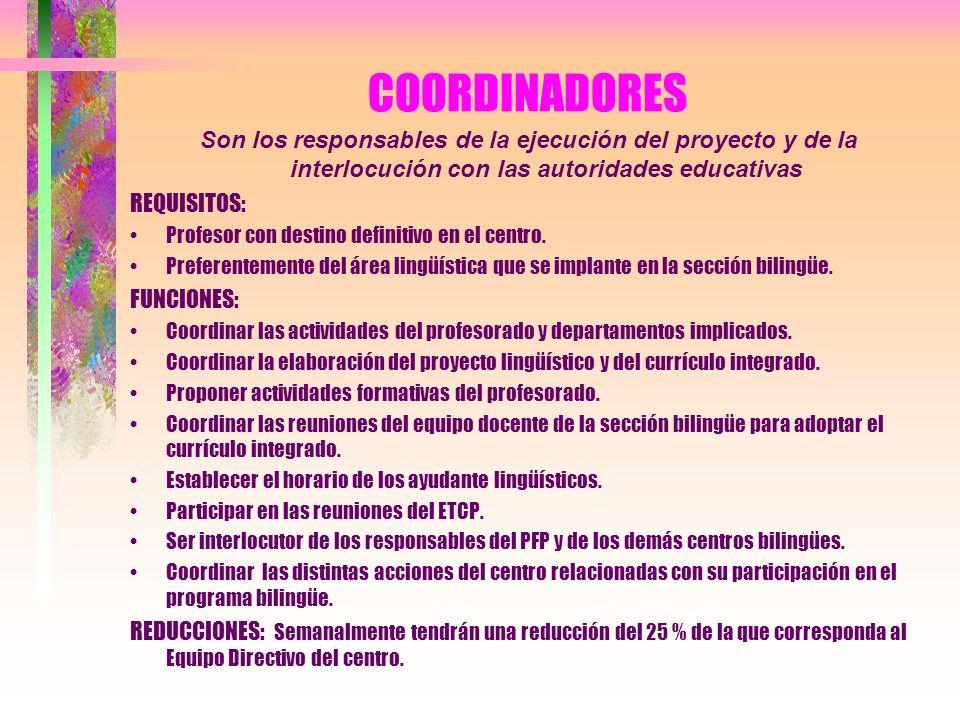 COORDINADORES Son los responsables de la ejecución del proyecto y de la interlocución con las autoridades educativas REQUISITOS: Profesor con destino