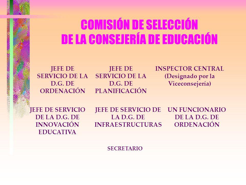 COMISIÓN DE SELECCIÓN DE LA CONSEJERÍA DE EDUCACIÓN JEFE DE SERVICIO DE LA D.G. DE ORDENACIÓN UN FUNCIONARIO DE LA D.G. DE ORDENACIÓN INSPECTOR CENTRA