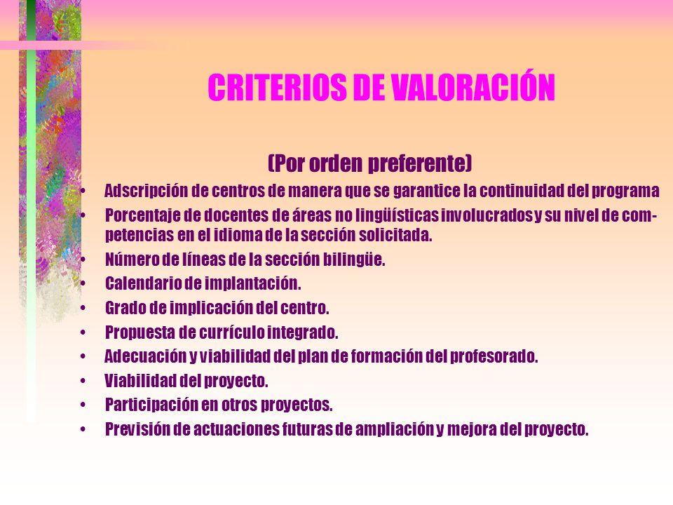 CRITERIOS DE VALORACIÓN (Por orden preferente) Adscripción de centros de manera que se garantice la continuidad del programa Porcentaje de docentes de