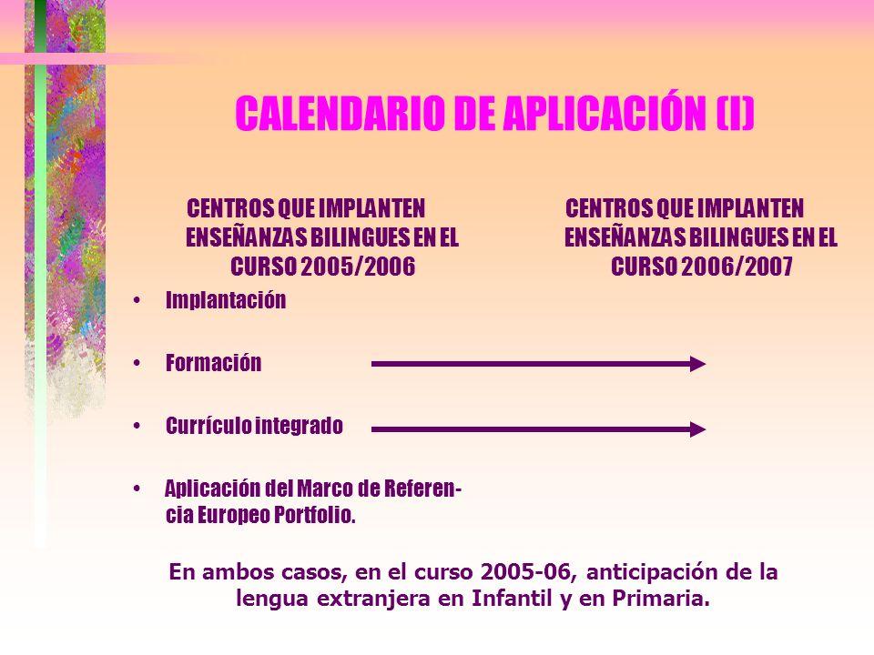 CALENDARIO DE APLICACIÓN (I) CENTROS QUE IMPLANTEN ENSEÑANZAS BILINGUES EN EL CURSO 2005/2006 Implantación Formación Currículo integrado Aplicación de