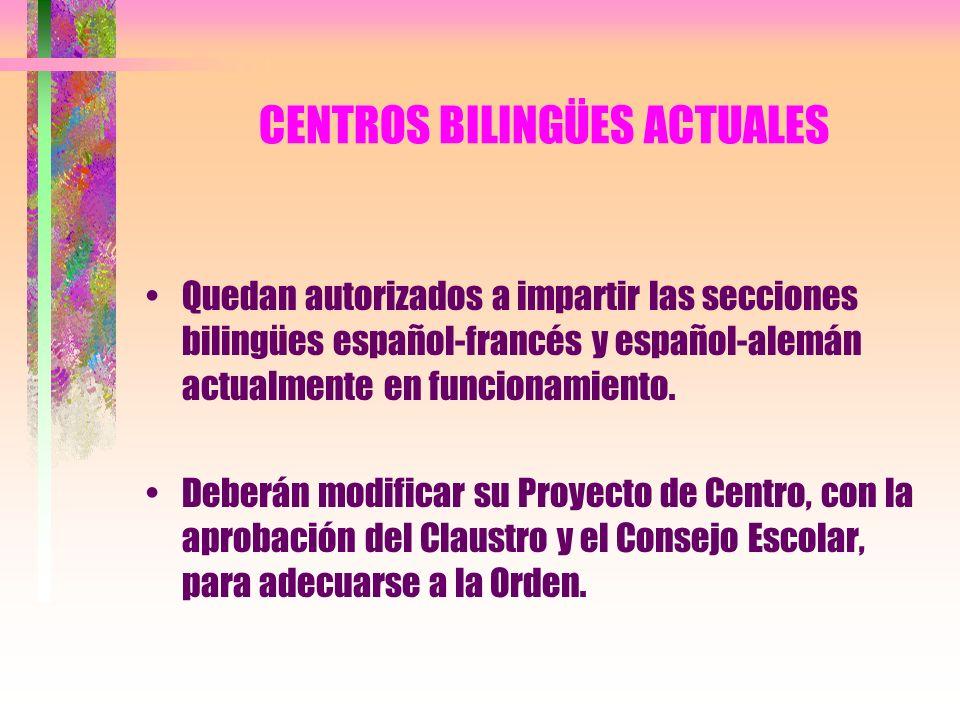 CENTROS BILINGÜES ACTUALES Quedan autorizados a impartir las secciones bilingües español-francés y español-alemán actualmente en funcionamiento. Deber