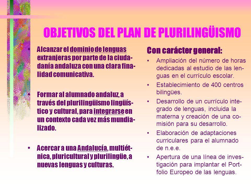 OBJETIVOS DEL PLAN DE PLURILINGÜISMO Alcanzar el dominio de lenguas extranjeras por parte de la ciuda- danía andaluza con una clara fina- lidad comuni