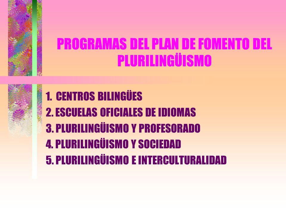 PROGRAMAS DEL PLAN DE FOMENTO DEL PLURILINGÜISMO 1. CENTROS BILINGÜES 2. ESCUELAS OFICIALES DE IDIOMAS 3. PLURILINGÜISMO Y PROFESORADO 4. PLURILINGÜIS