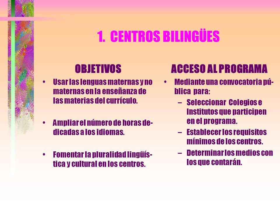 1. CENTROS BILINGÜES OBJETIVOS Usar las lenguas maternas y no maternas en la enseñanza de las materias del currículo. Ampliar el número de horas de- d