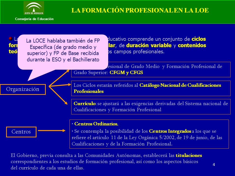 5 Consejería de Educación LA FORMACIÓN PROFESIONAL EN LA LOE Art.