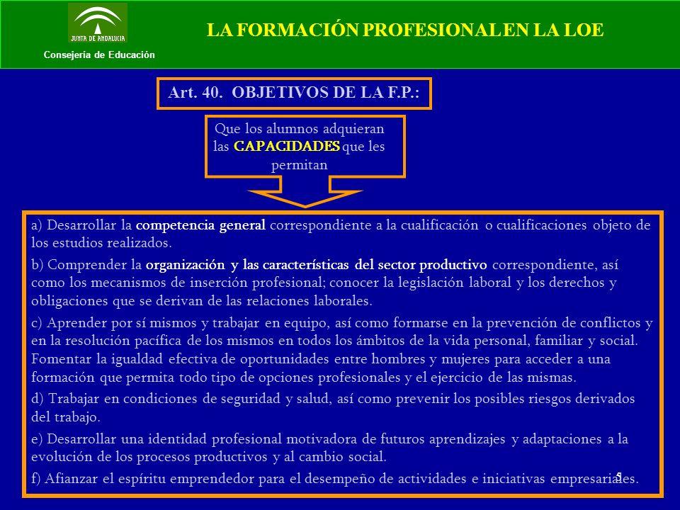 6 Consejería de Educación LA FORMACIÓN PROFESIONAL EN LA LOE Art.