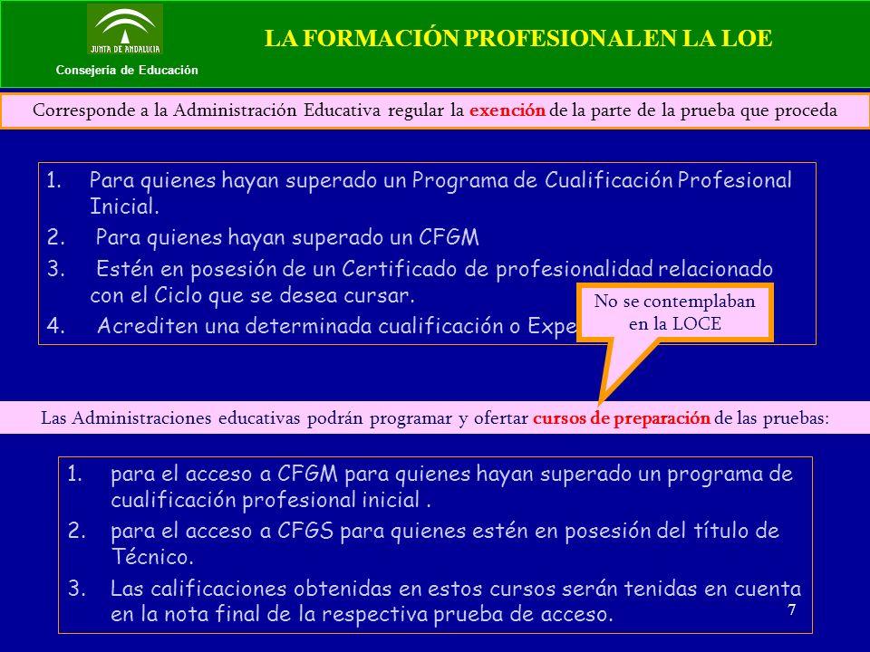 8 Consejería de Educación LA FORMACIÓN PROFESIONAL EN LA LOE Artículo 42.